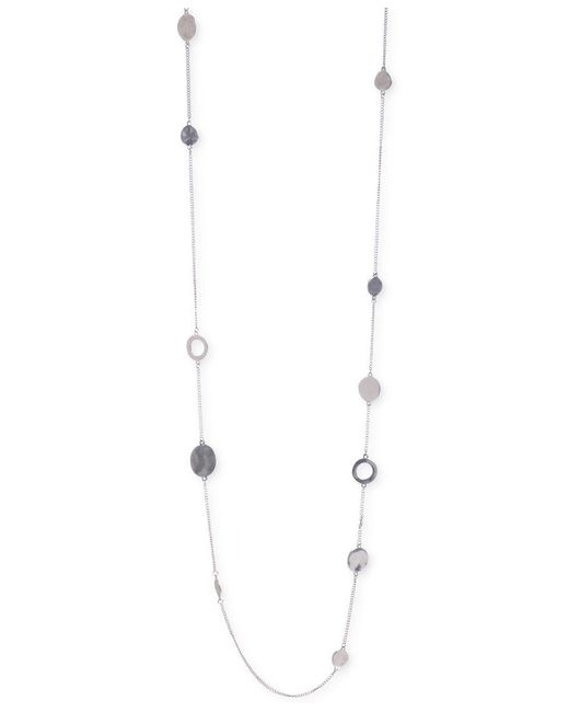 Kenneth Cole | Metallic Silver-tone Mixed Circle Bead Illusion Necklace | Lyst