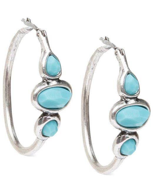 Lucky Brand | Metallic Silver-tone Turquoise Hoops Earrings | Lyst