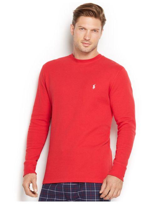 Polo Ralph Lauren | Red Men's Solid Long-sleeve Thermal Crew-neck Top for Men | Lyst