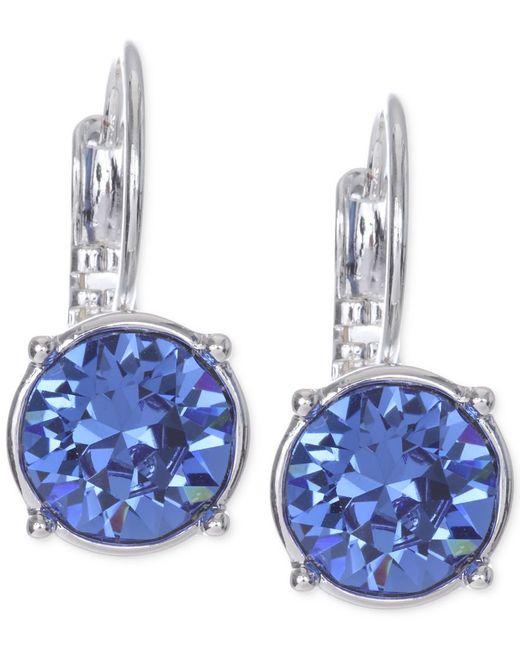Nine West   Blue Silver-tone Crystal Stone Drop Earrings   Lyst
