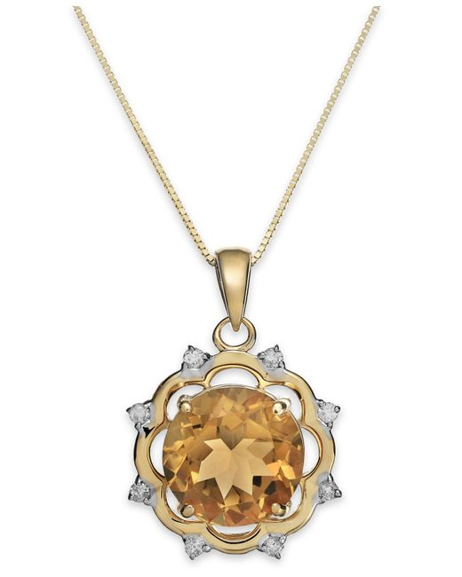 Macy's   Metallic Citrine (3-1/2 Ct. T.w.) And Diamond (1/8 Ct. T.w.) Pendant Necklace In 14k Gold   Lyst