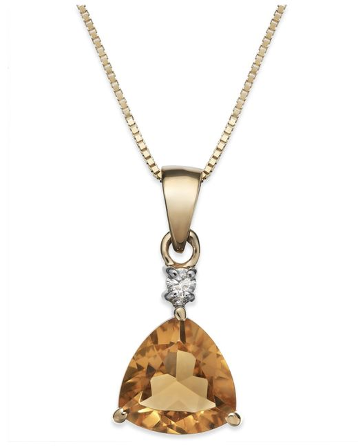 Macy's | Metallic Citrine (1-1/10 Ct. T.w.) And Diamond Accent Pendant Necklace In 14k Gold | Lyst