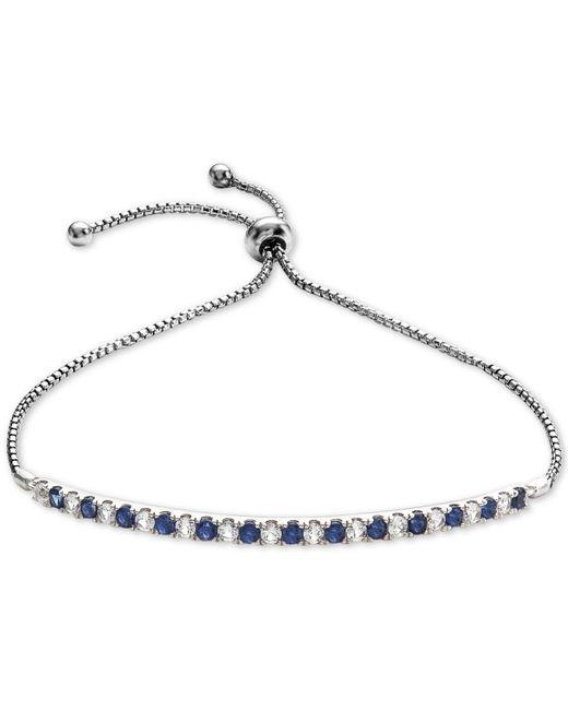 Macy's - Metallic Lab-created Sapphire (5/8 Ct. T.w.) & White Sapphire (5/8 Ct. T.w.) Bolo Bracelet In Sterling Silver - Lyst