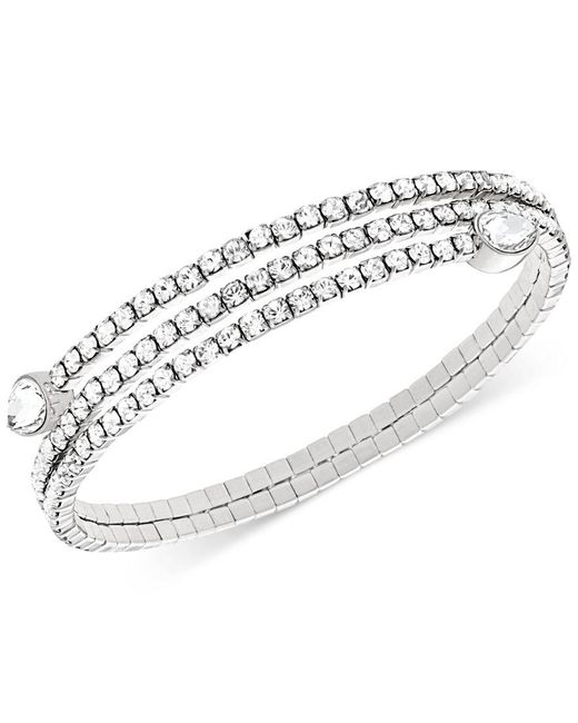 Swarovski | Metallic Twisty Crystal Pear-shaped Bangle Bracelet | Lyst