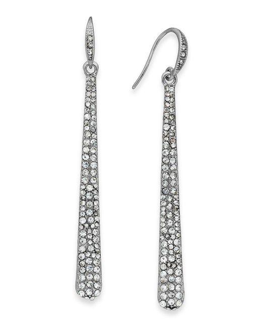 ABS By Allen Schwartz | Metallic Silver-tone Crystal Pave Linear Drop Earrings | Lyst