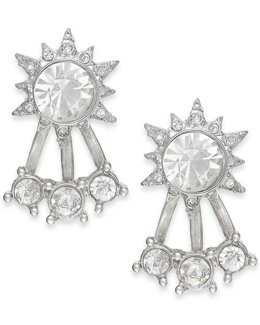 ABS By Allen Schwartz | Metallic Silver-tone Crystal Front-back Stud Earrings | Lyst