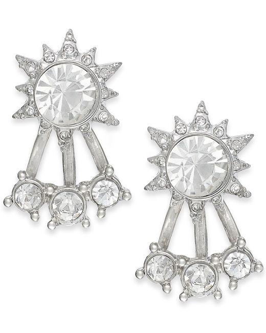 ABS By Allen Schwartz   Metallic Silver-tone Crystal Front-back Stud Earrings   Lyst