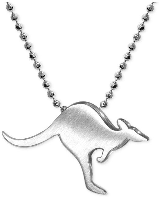 Alex Woo | Metallic Little Cities By Kangaroo Pendant Necklace In Sterling Silver | Lyst