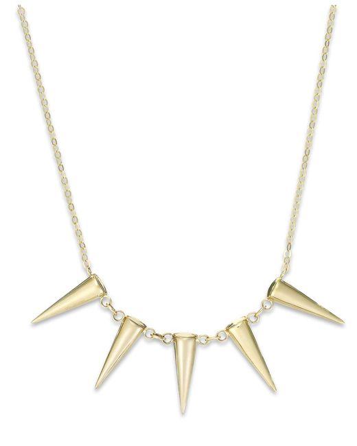 Macy's   Metallic Five Spike Frontal Necklace In 14k Gold   Lyst