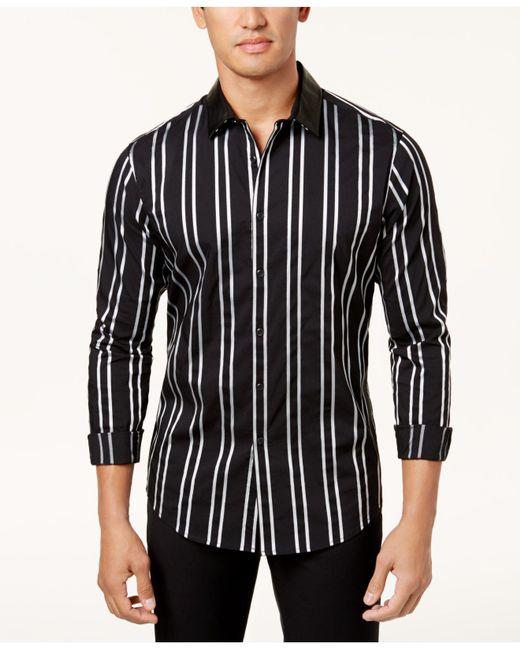 INC International Concepts | Black Men's Vertical Striped Shirt for Men | Lyst
