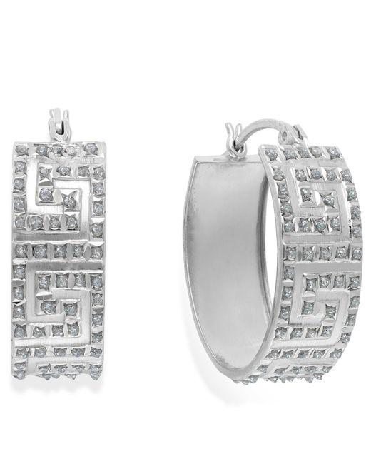 Macy's | Metallic Diamond Accent Greek Oval Hoop Earrings In Sterling Silver, 8mm | Lyst