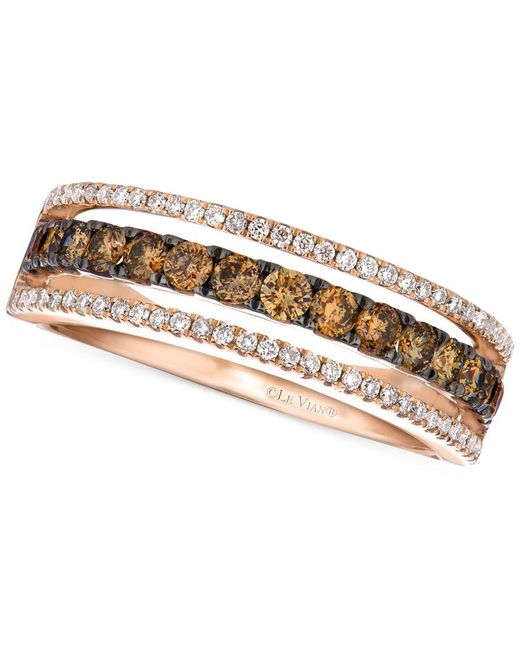 Le Vian | Pink Chocolate And White Diamond Channel Band In 14k Rose Gold (5/8 Ct. T.w.) | Lyst