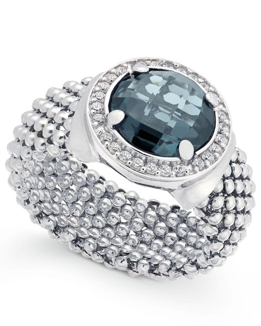 Macy's - London Blue Topaz (4-1/5 Ct. T.w.) And Diamond (1/5 Ct. T.w.) Popcorn Mesh Ring In Sterling Silver - Lyst