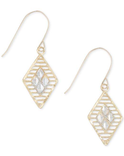 Macy's - Metallic Two-tone Openwork Geometric Drop Earrings In 10k Gold And White Gold - Lyst
