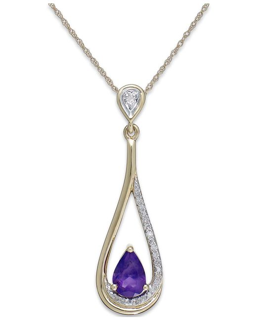 Macy's | Metallic Amethyst (1/2 Ct. T.w.) And Diamond Accent Pendant Necklace In 14k Gold | Lyst