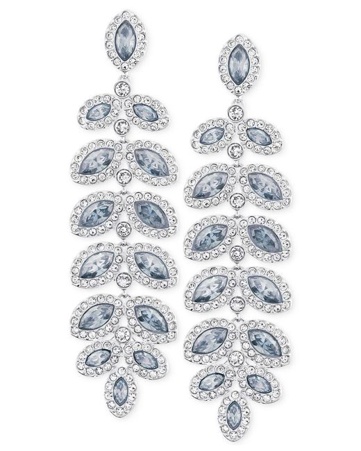 Swarovski | Blue Rhodium-plated Crystal Drop Earrings | Lyst