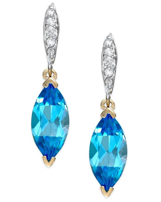 Macy's   Blue Topaz (2-9/10 Ct. T.w.) And Diamond Accent Earrings In 14k Gold   Lyst