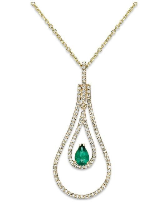 Macy's   Metallic Emerald (3/8 Ct. T.w.) And Diamond (3/8 Ct. T.w.) Pendant Necklace In 14k Gold   Lyst