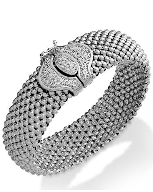 Macy's | Metallic Diamond Textured Bracelet In Sterling Silver (1/2 Ct. T.w.) | Lyst