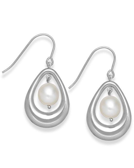 Macy's | Metallic Cultured Freshwater Pearl Teardrop Earrings In Sterling Silver (8mm) | Lyst
