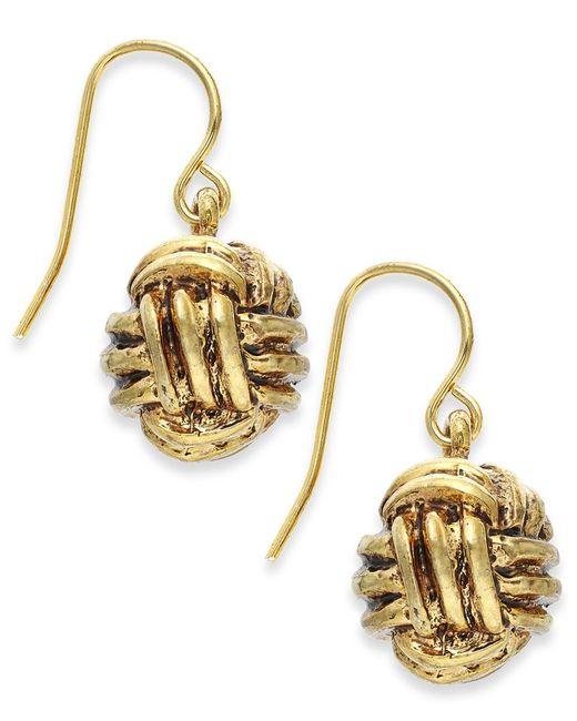 Lauren by Ralph Lauren   Metallic Gold-tone Monkey Fist Knot Drop Earrings   Lyst