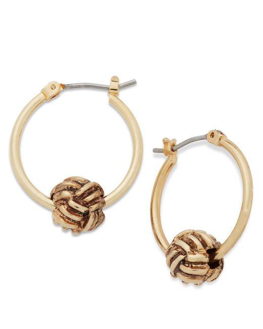 Lauren by Ralph Lauren | Metallic Gold-tone Monkey Ball Knot Click It Hoop Earrings | Lyst
