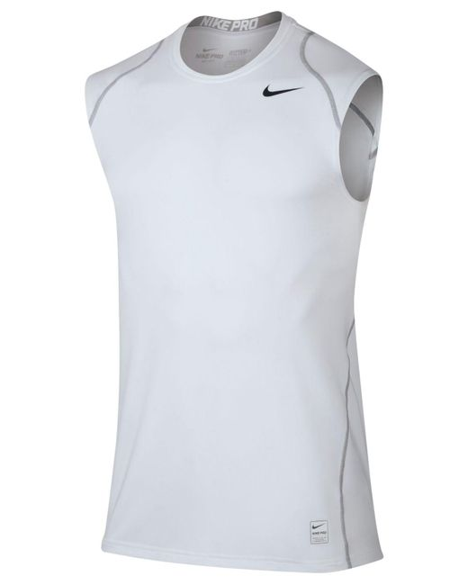 Nike   White Pro Cool Dri-fit Fitted Sleeveless Shirt for Men   Lyst