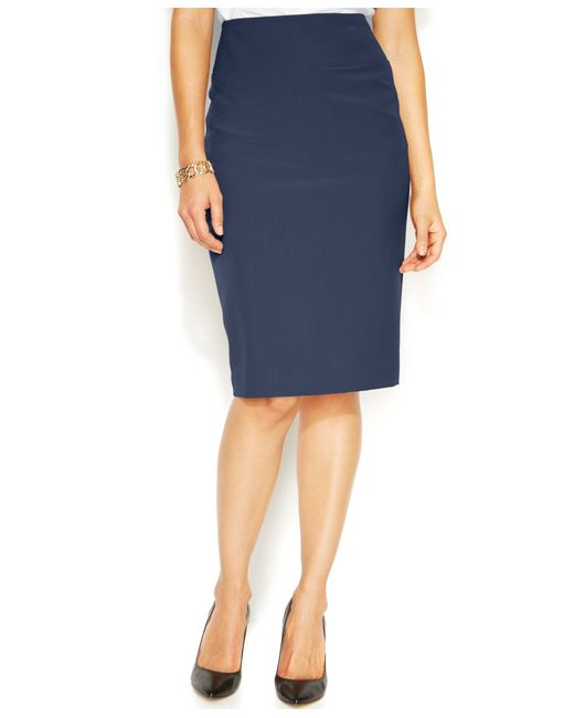 alfani classic pencil skirt only at macy s in blue lyst
