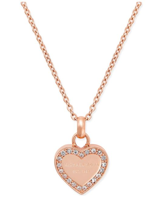 "Michael Kors | Pink 16"" Crystal Heart Pendant Necklace 