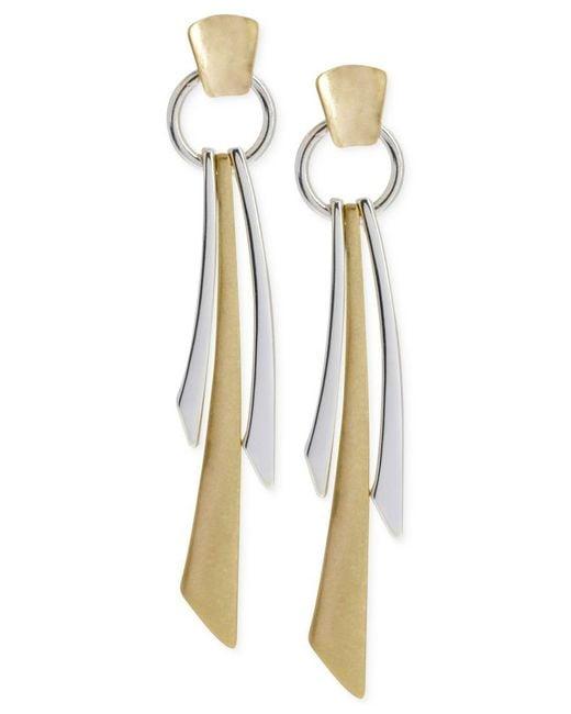Robert Lee Morris | Metallic Two-tone Geometric Linear Earrings | Lyst