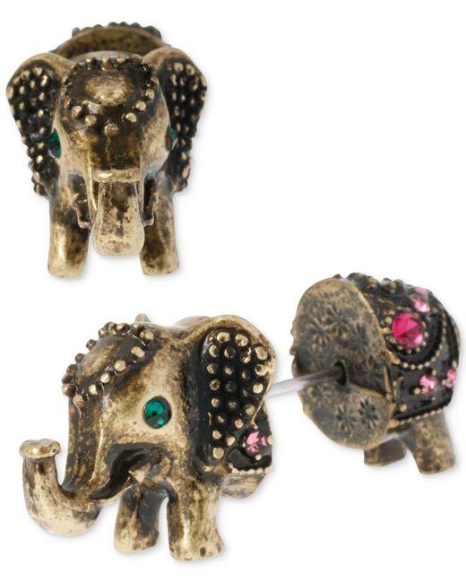 Betsey Johnson   Metallic Brass-tone Elephant Front-back Stud Earrings   Lyst