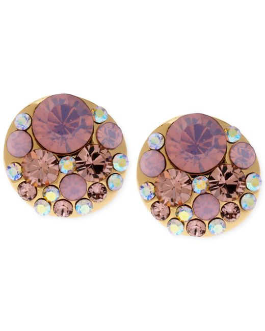 Betsey Johnson | Gold-tone Pink Faceted Bead Stud Earrings | Lyst
