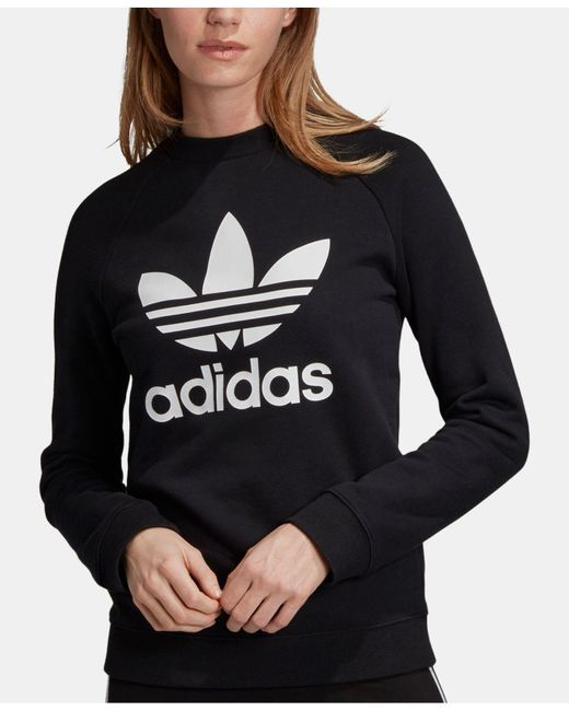 Adidas - Black Originals Adicolor Cotton Trefoil Sweatshirt - Lyst