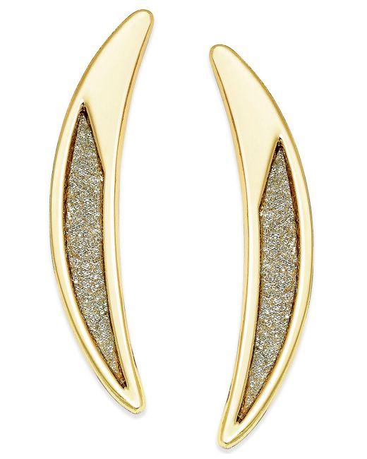 ABS By Allen Schwartz | Metallic Gold-tone Crescent Glitter Drop Earrings | Lyst