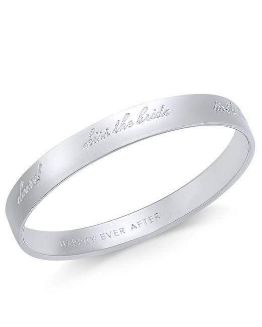 Kate Spade - Metallic Silver-tone Engraved Bride Idiom Bracelet - Lyst