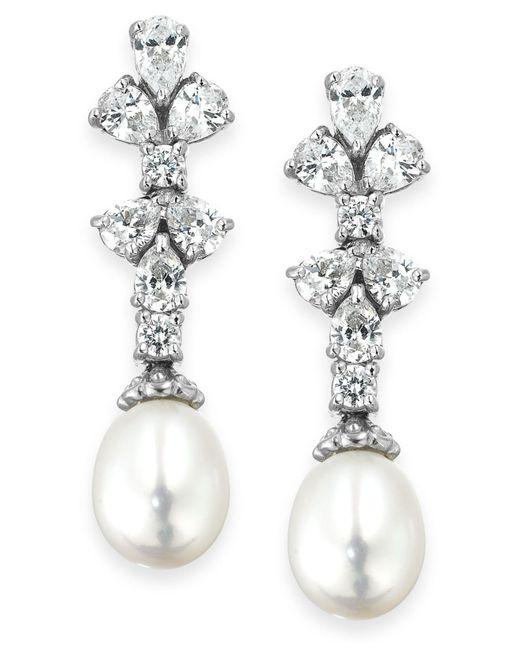 Arabella - Metallic Cultured Freshwater Pearl (8mm) And Swarovski Zirconia (1-3/4 Ct. T.w.) Earrings In Sterling Silver - Lyst