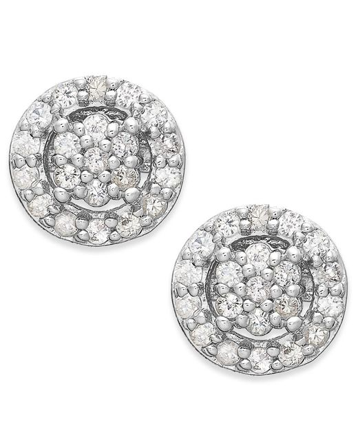 Macy's | Metallic White Sapphire Halo Stud Earrings In 14k White Gold (5/8 Ct. T.w.) | Lyst