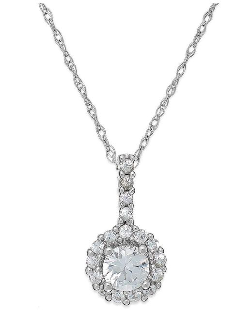 Macy's | White Sapphire Halo Pendant Necklace In 14k White Gold (3/8 Ct. T.w.) | Lyst