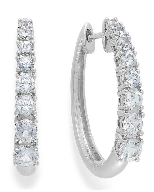 Macy's   Metallic White Sapphire Hoop Earrings In 14k White Gold (2-1/3 Ct. T.w.)   Lyst