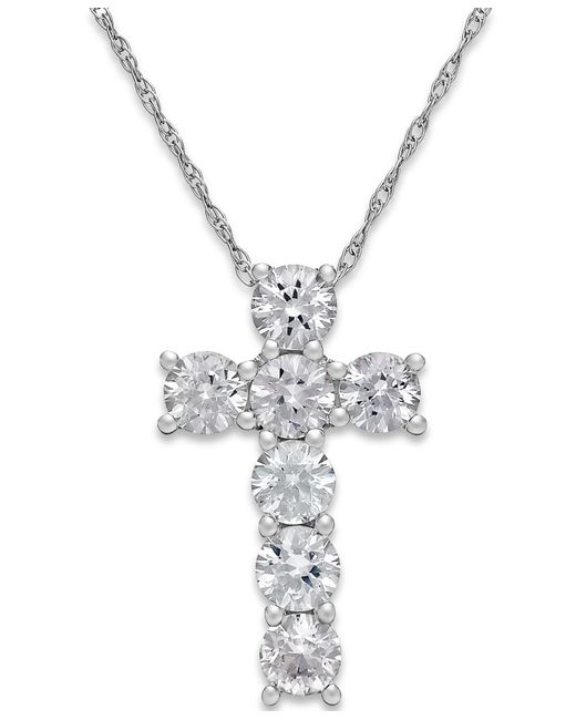 Macy's   White Sapphire Cross Pendant Necklace In 14k White Gold (1-1/4 Ct. T.w.)   Lyst