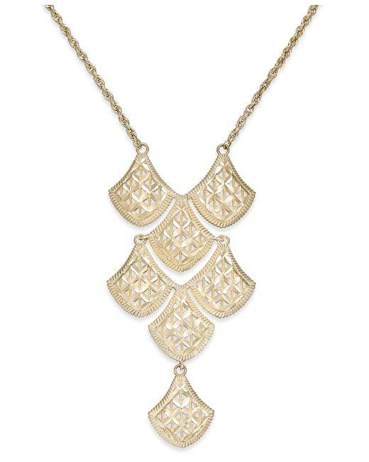 Macy's   Metallic Diamond-cut Mesh Linked Frontal Necklace In 14k Gold   Lyst