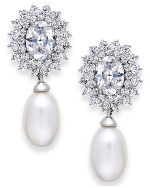 Arabella | White Cultured Freshwater Pearl (8mm) And Swarovski Zirconia Earrings In Sterling Silver | Lyst