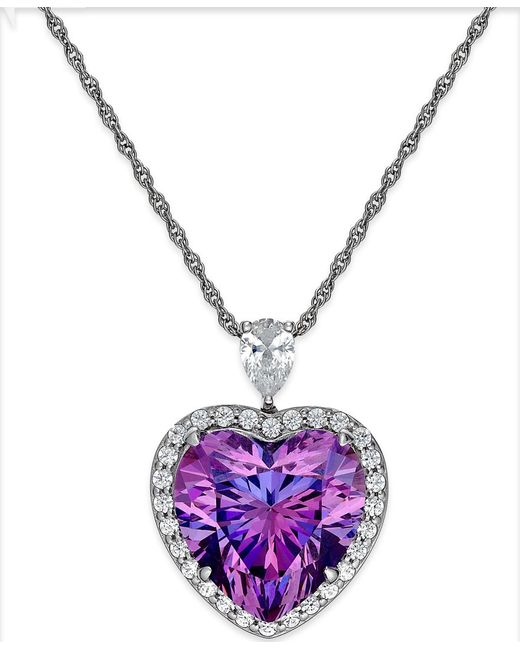 Arabella | Metallic Purple And Clear Swarovski Zirconia Heart Necklace In Sterling Silver | Lyst
