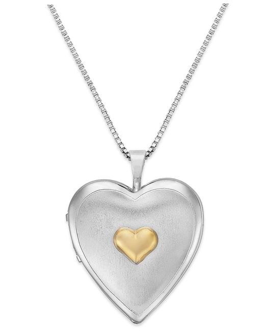 Macy's | Metallic Double Heart Locket In Sterling Silver And 14k Gold | Lyst