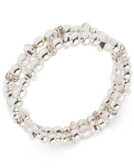 Nine West | Metallic Silver-tone 2-pc. Set Bead & Crystal Stretch Bracelets | Lyst