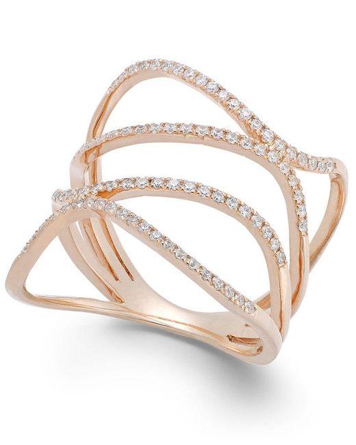 Macy's | Pink Diamond Wavy Ring In 14k Rose Gold (3/8 Ct. T.w.) | Lyst