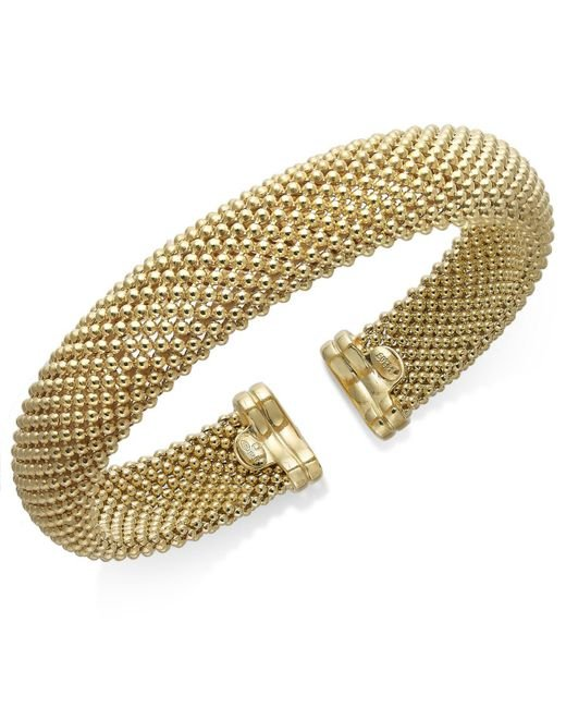 Macy's | Metallic Mesh Bangle Bracelet In 14k Gold Over Sterling Silver | Lyst