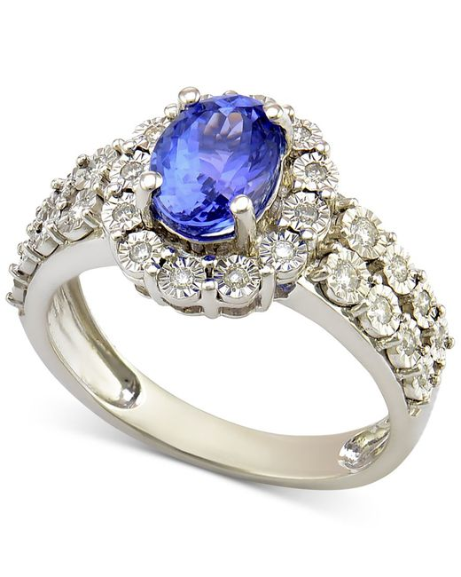 Macy's | Tanzanite (1-1/5 Ct. T.w.) And Diamond (1/4 Ct. T.w.) Ring In 14k White Gold | Lyst