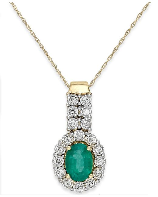 Macy's | Metallic Emerald (1 Ct. T.w.) And Diamond (1/4 Ct. T.w.) Pendant Necklace In 14k Gold | Lyst