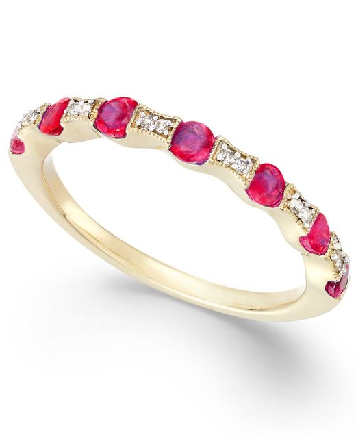 Macy's   Metallic Ruby (5/8 Ct. T.w.) And Diamond Accent Band In 14k Gold   Lyst